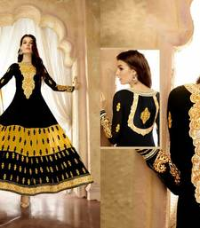 Buy Black and Yellow embroidered georgette semi stitched salwar with dupatta anarkali-salwar-kameez online