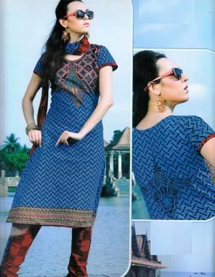 Cotton Dress Material With Chiffon Dupatta Unstitched Suit D.No 2543