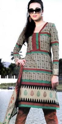 Cotton Dress Material With Chiffon Dupatta Unstitched Suit D.No 2553