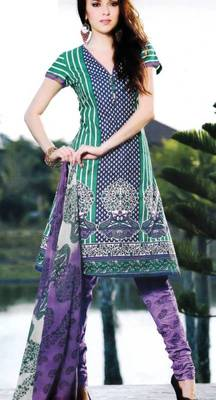Cotton Dress Material With Chiffon Dupatta Unstitched Suit D.No 2559