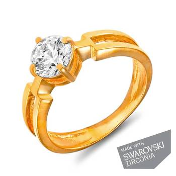 Mahi Gold Plated Bold Vogue Solitaire Ring