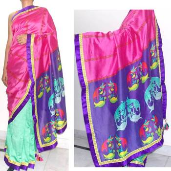 Green/ pink half n half chanderi silk saree