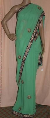 Pista green Georgette embroidered saree