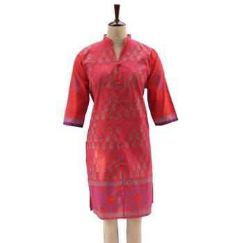 Terracotta Red Tunic with Floral Block Printed Hem
