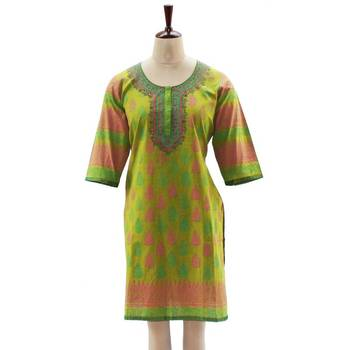 Grass Green Block Printed Tunic
