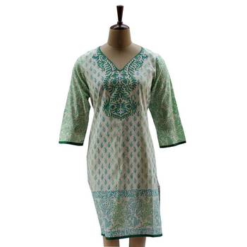 Pearl White Tunic with Block Prints