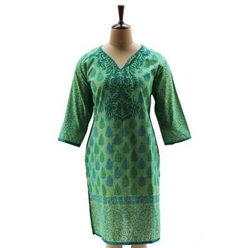 Summer Green Tunic with Block Printed Yoke