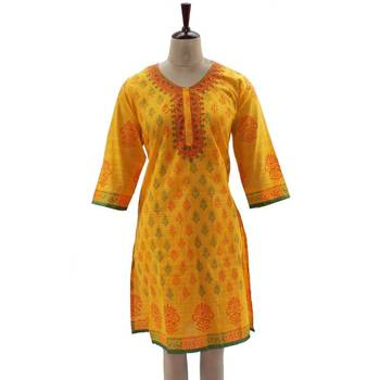 Block Printed Sunglow Yellow Tunic