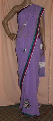 Lavender georgette saree with crochet border