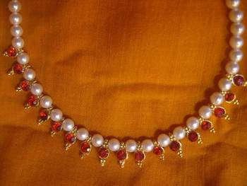 Maroon  Beads Pearl Necklace