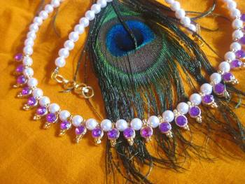 Purple Beads Pearl Necklace