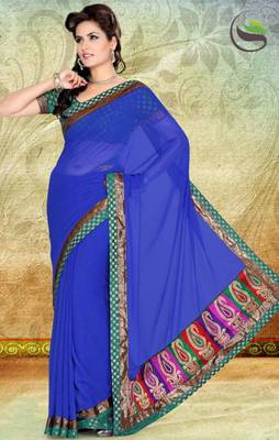 Blue Faux Chiffon Saree With Blouse