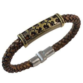 Brown Plus sign Leather Bracelet for Men