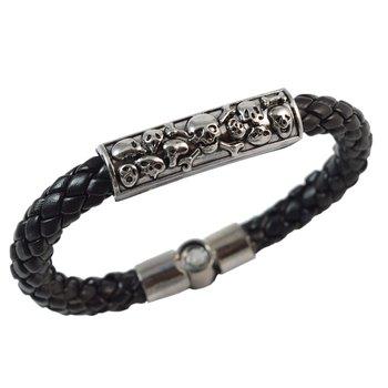 Black Skulls Leather Bracelet for Men