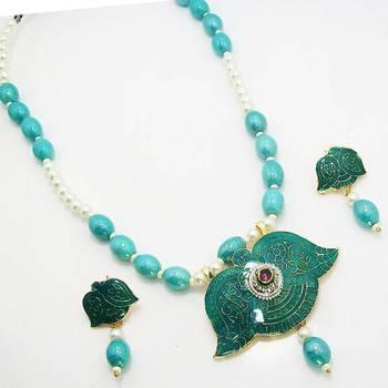 Meenakari Half Moon Solid Color Necklace Vibrant Aqua