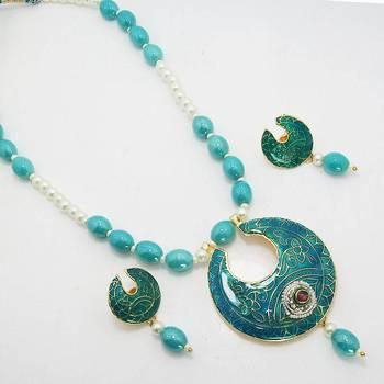 Meenakari Leafy Solid Color Necklace Vibrant Aqua