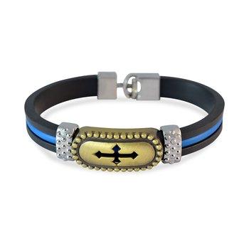 Black Cross Design Strap Bracelet for Men by Sarah