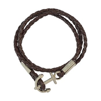 Brown Multi Strap with Anchor Faux Leather Bracelet for Men
