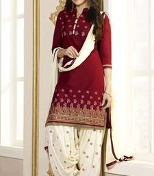 Buy Red embroidered Pure Cotton and Cambric unstitched salwar with dupatta patiala-salwar online