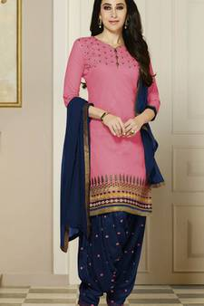 c3b8ec6477 Pink embroidered Pure Cotton and Cambric unstitched salwar with dupatta