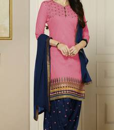 Pink embroidered Pure Cotton and Cambric unstitched salwar with dupatta