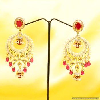 Ruby Kundan Fusion Earrings