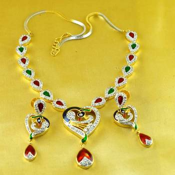 pendants necklace stone gold and silver  platted cz ad polki meenakari kundun with earing