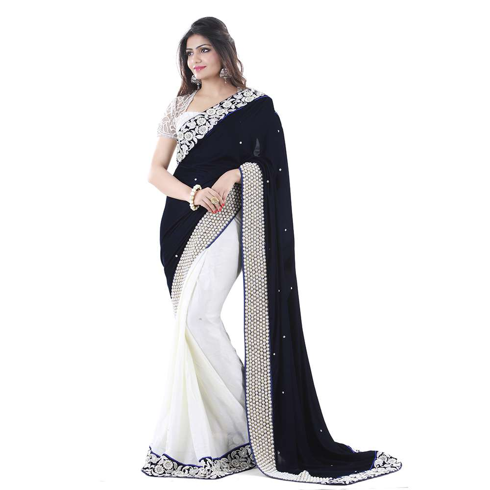 59acfe40dd White and Blue embroidered Velvet saree with blouse - Ishimaya - 606618