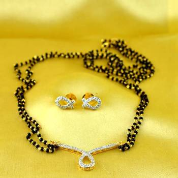 mangalsutra pendants gold and silver platted stone cz ad polki meenakari kundun with earing size-22''inch