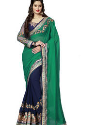 Buy green  and  blue embroidered georgette saree with blouse georgette-saree online