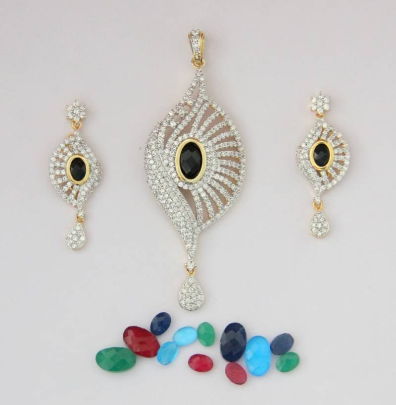 Buy Ad White N Changable Stone Studded Locket Set Online