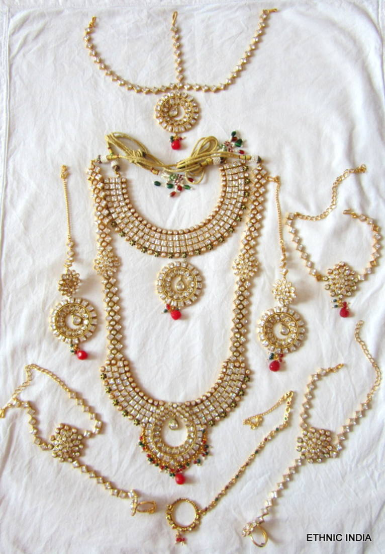 Buy Red Green Crystal Bridal Dulhan Necklace Earring Set Online