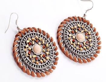 Antique Round Brown Earring