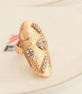 Trendy shiny elegant alloy small rhinestone punk finger nail ring (1 pc.)