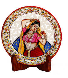 Buy Pure Marble Handpainted Jaali pattern Decorative  Plate wedding-gift online
