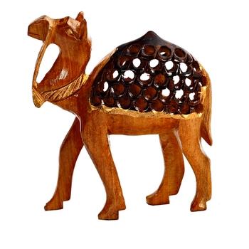 Carved Wooden Camel Showpiece