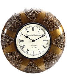 Buy Analog Wall Clock made in Wood with Antique Finish eid-gift online