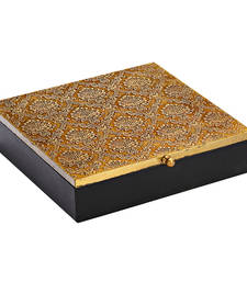 Buy Brown Wood and Gold Metal Craved Utility Box jewellery-box online