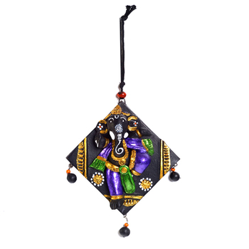 Aapno Rajasthan Multicolor Terracotta Square Wall Plate Showpiece