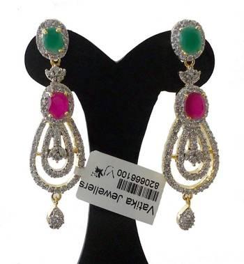 Vatika big size american diamond earrings