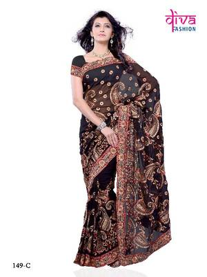 BLACK BEAUTY, BOLLYWOOD STYLE DESIGNER PARTY WEAR SAREE FROM DIVA FASHION