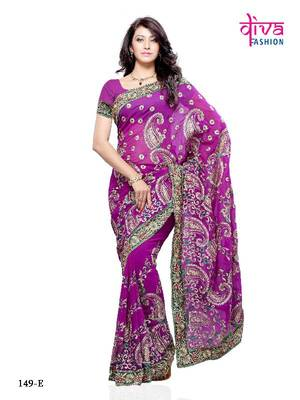 Purple Faux Georgette Bollywood Party wear saree