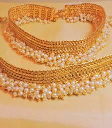Elegant Broad Polki Goldtone Payal