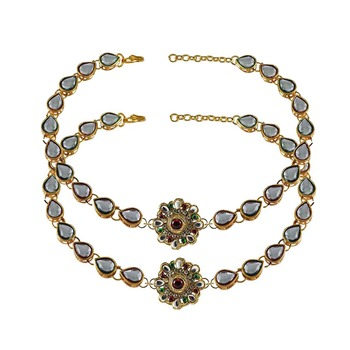 Brass gold platted  Multicolor stone studded  Anklet