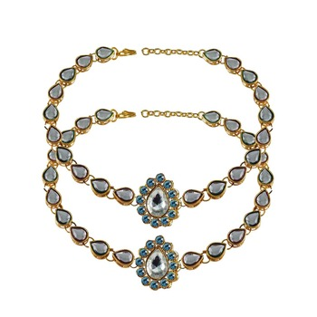 Brass gold platted  Blue stone studded  Anklet