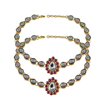 Brass gold platted  Pink stone studded  Anklet