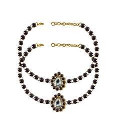 Buy Brass gold platted  Purple stone studded  Anklet anklet online