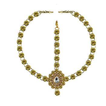 Brass Gold Platted  Green Stone Studded  Maang Tikka Set