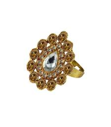 Buy Brass gold platted  Golden stone studded  Ring with Adjustable Ring online