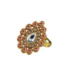 Buy Brass gold platted  Pich stone studded  Ring with Adjustable Ring online